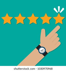 Human hands pointing to five star rating. Feedback, Customer review concept vector