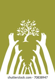human hands protect tree, symbol of nature