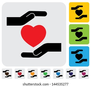 Human hands protecting heart concept- vector graphic. This illustration represents concept of safeguarding human health, protecting heart from breaking ( love failure ), prevention of heart failure