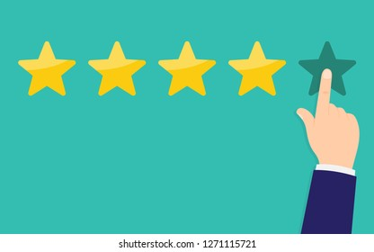 Human hands put rating five star. Customer reviews, rating, classification concept. Rank. Vector illustration