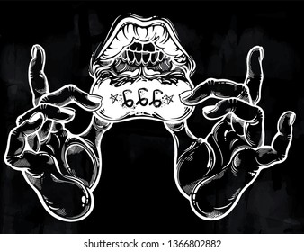 Human hands showing hidden lip tattoo. Satanic antichrist number 666, mystic lips and mouth with teeth. Ink art for print, posters, t-shirts textiles. Vector isolated illustration..