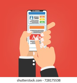 Human hands with smartphone mobile with social media advertising website. Vector illustration social ads digital marketing concept.