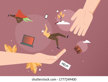 Human hands and superman helping businessman not to fall, vector flat illustration. To lend a hand metaphor for help, support for people under stress, depression etc.