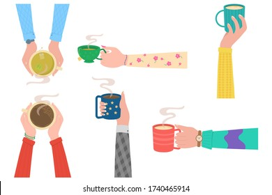 Human hands with tea mug cup. Human hands holding cups or mugs with hot drinks, flat cartoon vector illustration isolated on white background. Coffee time, coffee break concept.