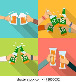 Human hands toasting beer.  Icons set. People clinking beer mugs, glasses and bottles. Oktoberfest celebration party poster. For bar, restaurant, brewery ad, promotion, web design, vector illustration