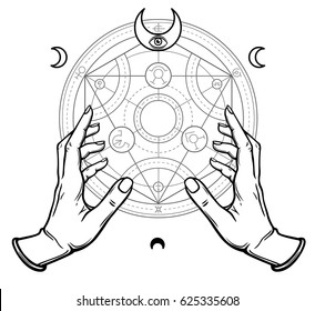 Human hands touch an alchemical circle. Mystical symbols, sacred geometry. Vector illustration isolated on a white background.