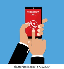 Human hands using emergency call on smartphone mobile on blue background. Vector illustration business concept design.