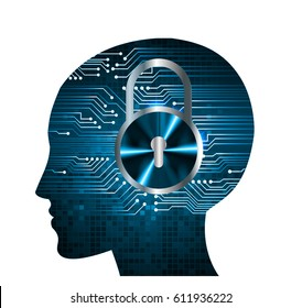 human head. blue Circuit board Safety concept. key.