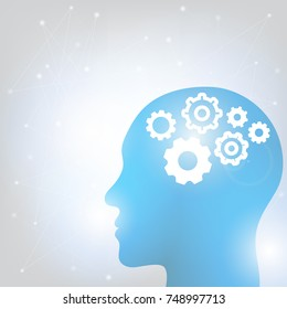 Human head and brain. Different kind of waveforms produced by brain activity shown on background. Vector illustration