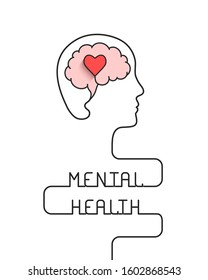 Human head and brain with heart outline as mental health, emotional well being and awareness concept