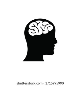 Human head with brain icon, isolated on white background, vector illustration