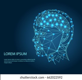 Human head with the brain inside. The concept of thinking processes. Wires from the point of brain graphics, vector illustration.