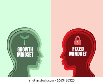 Human head with brain inside. Growth mindset VS Fixed mindset. Mindset Opposite Positivity Negativity Thinking Concept. 3D abstract paper art style, Vector illustration.