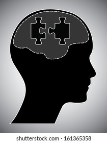 Human head with brain and puzzle. Creative brainstorm design concept. Easy to edit abstract isolated vector illustration.