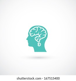 Human head with brain in shape of question mark - vector illustration