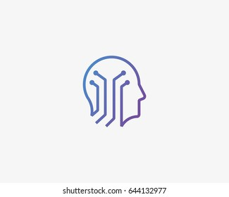 Human head brain vector logotype. Tech mind electronic education logo icon
