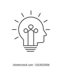 Human head bulb lamp logo vector idea smart  icon. Head idea icon vector, solid illustration, pictogram isolated on white. Editable Stroke. EPS 10