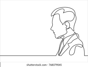human head, businessman avatar vector line - continuous line drawing