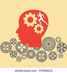Human head with cogs and gears. Running human brain concept illustration vector.