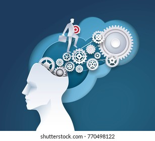 Human head with Cogwheel Gears in progress, Businessman holding Target and walking on gears, Concept of thinking for development Business, Creative idea, Paper art vector and illustration.