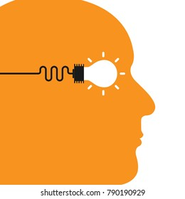 Human head with Creative bulb light idea abstract vector design template.Concept of ideas inspiration, innovation, invention, effective thinking, knowledge and education.Vector illustration