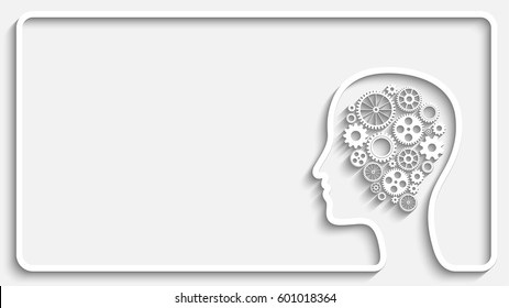 Human head creative frame with set of gears as a symbol work of brain, Eps10 vector background for your design