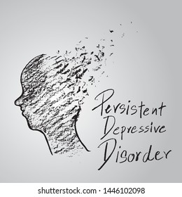 Human head draw with brain broken surreal neurology illness concept. Persistent depressive disorder or depression hand draw sketch style symbol vector.