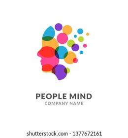 Human head face logo, creative brain man. Digital profile face innovation intelligence mind design logo.