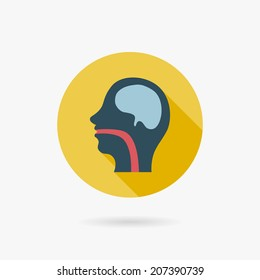human head Flat style Icon with long shadows