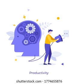 Human head with gear wheels inside and man putting power plug into socket. Concept of productivity, effectiveness, source of energy for brain charging. Modern flat vector illustration for banner.