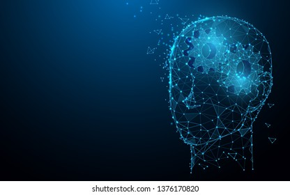 Human head with gears from lines, triangles and particle style design. Illustration vector