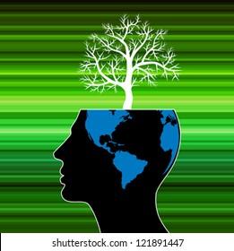 human head growing in the shape of tree