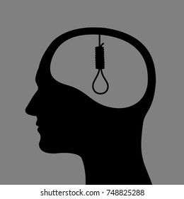 Human head with hangman's rope instead of brain - Man is thinking about suicide and killing himself by hanging. Negative thinking of person who wants to die end end life. Dark vector illustration.