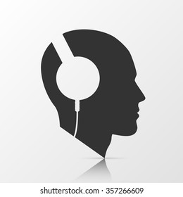 Human head with headphones. Vector illustration.