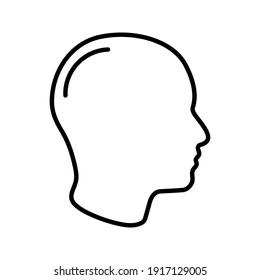 human head icon . Human head profile black shadow silhouette vector illustration color editable