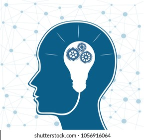 Human Head with Light bulb inside.Brainstorm and creative idea concep