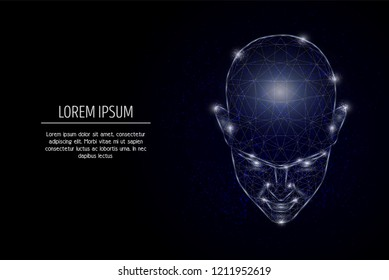 Human head low poly wireframe mesh made of points, lines and shapes. Vector  design. Human mind, intellectual capabilities poster banner template with copy space. Future ai bot.
