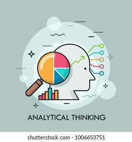 Human head, magnifying glass with pie chart inside, diagrams and graphs. Concept of analytical thinking, statistical analyst and analysis, financial analytics. Creative vector illustration for banner.