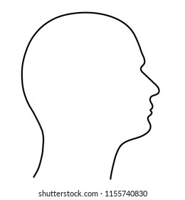Human head of a man, the outline of black lines on a white background. Vector illustration.