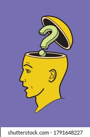Human head.  A man's brain is open. Abstract form of an open human head. Profile man. Profile man. The question is in my head. Problem of choice. Human brain. Psychology of thinking.