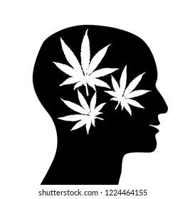 Human head with marijuana leaf  icon. Drug addiction.Vector illustration