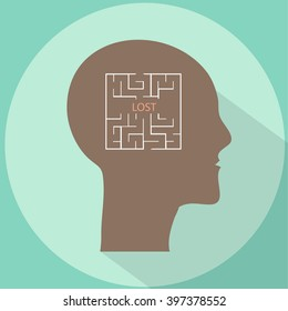 Human head with maze inside brains vector flat illustration with long shadow.  Lost in mind labyrinth concept illustration, icon