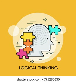 Human head with maze inside and colorful jigsaw puzzle pieces. Concept of logical thinking, intelligence, mental capacity, mind game. Colorful vector illustration in linear style for banner, poster.