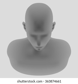 human head model, front top view, vector illustration