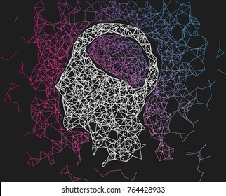Human head network line abstract background. Concept of AI, deep learning, neural network. Vector illustration