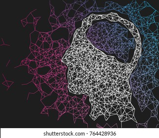 Human head network line abstract background. Concept of artificial intelligence, AI, deep learning. Vector illustration