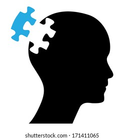 Human head with one blue piece of missing puzzle, isolated easy to edit vector design. Abstract business concept illustration.