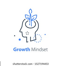 Human head and plant stem, mental health, cognitive psychology or psychotherapy concept, growth mindset, self esteem and confidence, vector line illustration
