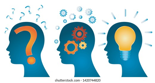 Human head problem analysis solution concept. Head problem solving series. Problem - thought - inspiration - idea and success. isolated