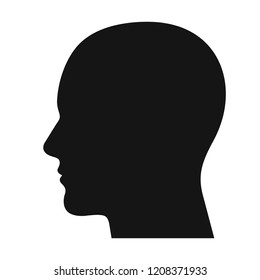 Human head profile black shadow silhouette vector illustration isolated on white background